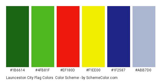 Launceston City Flag Colors - Color scheme palette thumbnail - #1b6614 #4fb81f #ef180d #f1ee00 #1f2587 #abb7d0