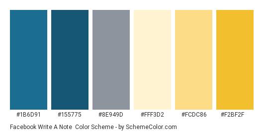Facebook Write a Note - Color scheme palette thumbnail - #1b6d91 #155775 #8e949d #fff3d2 #fcdc86 #f2bf2f