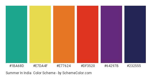 Summer in India - Color scheme palette thumbnail - #1ba68d #e7da4f #e77624 #df3520 #64297b #232555