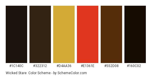 Wicked Stare - Color scheme palette thumbnail - #1c140c #322312 #d4aa36 #e1361e #552d08 #160c02