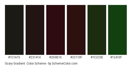 Scary Gradient - Color scheme palette thumbnail - #1c1a15 #231414 #2d0b10 #2c110f #1c2c0e #12410f