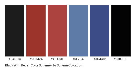 Black with Reds & Blues - Color scheme palette thumbnail - #1c1c1c #9c342a #ad433f #5e7ba8 #3c4c86 #030303
