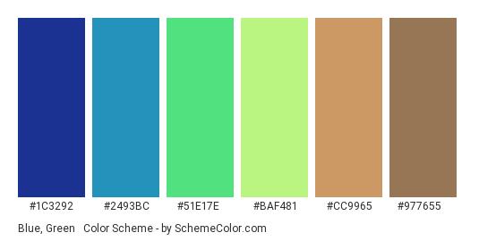 Blue, Green & Brown - Color scheme palette thumbnail - #1c3292 #2493bc #51e17e #baf481 #cc9965 #977655
