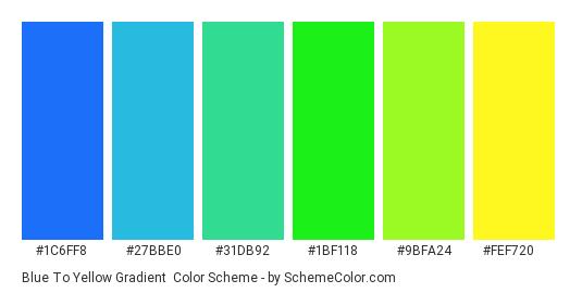 Blue to Yellow Gradient - Color scheme palette thumbnail - #1c6ff8 #27bbe0 #31db92 #1bf118 #9bfa24 #fef720