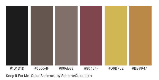 Keep it For Me - Color scheme palette thumbnail - #1d1d1d #65554f #806e68 #80454f #d0b752 #bb8947