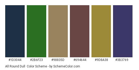 All Round Dull - Color scheme palette thumbnail - #1d3044 #2b6f23 #98835d #694644 #9d8a38 #3b3769