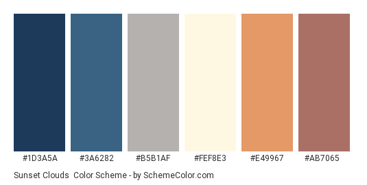 Sunset Clouds - Color scheme palette thumbnail - #1d3a5a #3a6282 #b5b1af #fef8e3 #e49967 #ab7065
