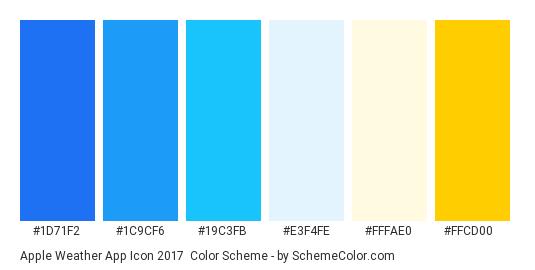Apple Weather App Icon 2017 - Color scheme palette thumbnail - #1d71f2 #1c9cf6 #19c3fb #e3f4fe #fffae0 #ffcd00