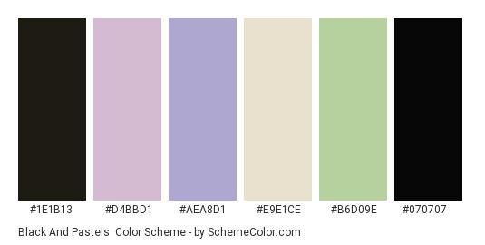 Black and Pastels - Color scheme palette thumbnail - #1e1b13 #d4bbd1 #aea8d1 #e9e1ce #b6d09e #070707