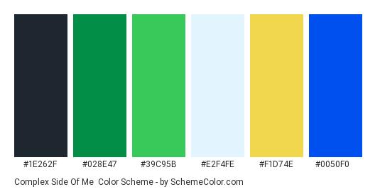 Complex Side of Me - Color scheme palette thumbnail - #1e262f #028e47 #39c95b #e2f4fe #f1d74e #0050f0