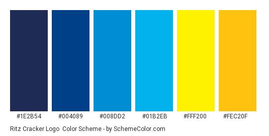 Ritz Cracker Logo - Color scheme palette thumbnail - #1e2b54 #004089 #008dd2 #01b2eb #fff200 #fec20f