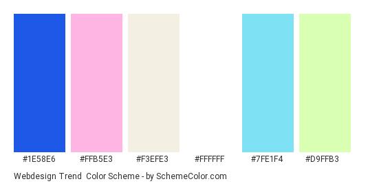 Webdesign Trend - Color scheme palette thumbnail - #1e58e6 #ffb5e3 #f3efe3 #ffffff #7fe1f4 #d9ffb3