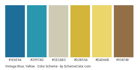 Vintage Blue, Yellow & Brown - Color scheme palette thumbnail - #1e6e9a #2997ad #cecab3 #d2b53a #ead66b #936f48