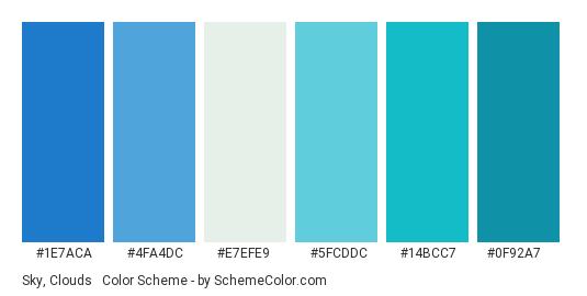 Sky, Clouds & Ocean - Color scheme palette thumbnail - #1e7aca #4fa4dc #e7efe9 #5fcddc #14bcc7 #0f92a7
