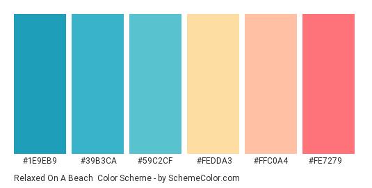 Relaxed on a Beach - Color scheme palette thumbnail - #1e9eb9 #39b3ca #59c2cf #fedda3 #ffc0a4 #fe7279