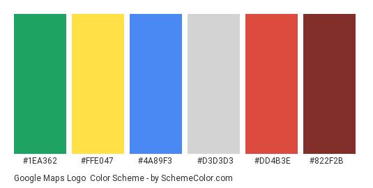 Google Maps Logo - Color scheme palette thumbnail - #1ea362 #ffe047 #4a89f3 #d3d3d3 #dd4b3e #822f2b