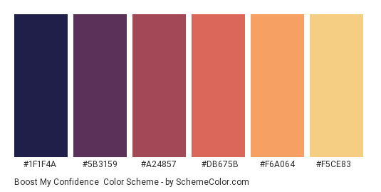Boost my Confidence - Color scheme palette thumbnail - #1f1f4a #5b3159 #a24857 #db675b #f6a064 #f5ce83
