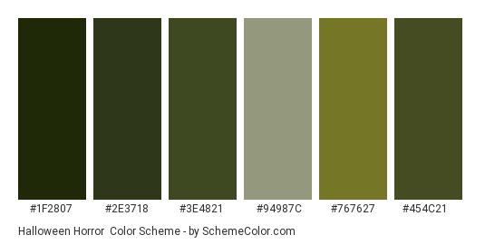 Halloween Horror - Color scheme palette thumbnail - #1f2807 #2e3718 #3e4821 #94987c #767627 #454c21