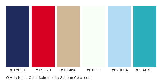 O Holy Night - Color scheme palette thumbnail - #1f2b5d #d70023 #d0b896 #f8fff6 #b2dcf4 #29afbb
