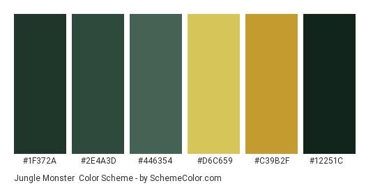 Jungle Monster - Color scheme palette thumbnail - #1f372a #2e4a3d #446354 #d6c659 #c39b2f #12251c
