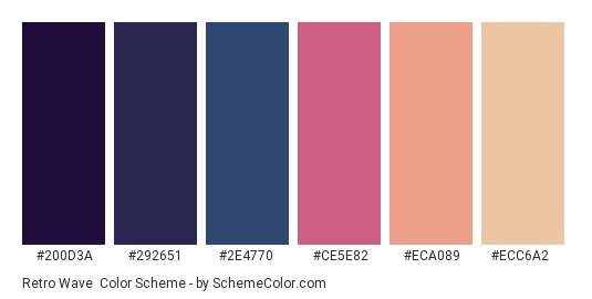 Retro Wave - Color scheme palette thumbnail - #200D3A #292651 #2E4770 #CE5E82 #ECA089 #ECC6A2