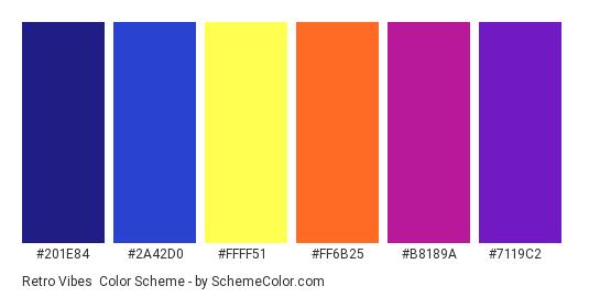 Retro Vibes - Color scheme palette thumbnail - #201E84 #2A42D0 #FFFF51 #FF6B25 #B8189A #7119C2