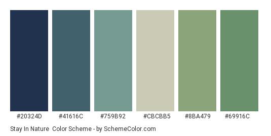 Stay in Nature - Color scheme palette thumbnail - #20324d #41616c #759b92 #cbcbb5 #8ba479 #69916c
