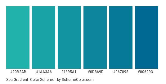 Sea Gradient - Color scheme palette thumbnail - #20B2AB #1AA3A6 #1395A1 #0D869D #067898 #006993