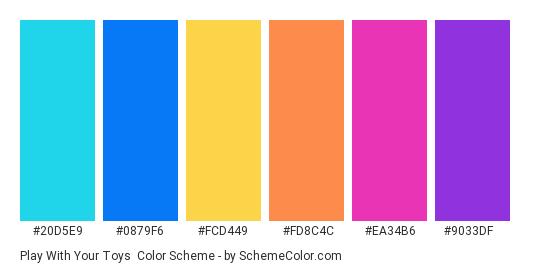 Play with Your Toys - Color scheme palette thumbnail - #20d5e9 #0879f6 #fcd449 #fd8c4c #ea34b6 #9033df
