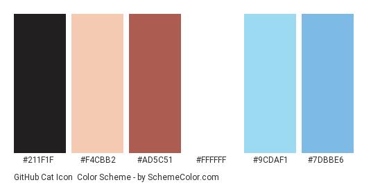 GitHub Cat Icon - Color scheme palette thumbnail - #211f1f #f4cbb2 #ad5c51 #ffffff #9cdaf1 #7dbbe6