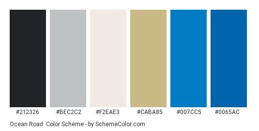 Ocean Road - Color scheme palette thumbnail - #212326 #bec2c2 #f2eae3 #caba85 #007cc5 #0065ac