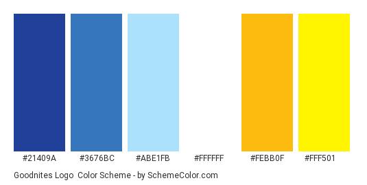 Goodnites Logo - Color scheme palette thumbnail - #21409a #3676bc #abe1fb #ffffff #febb0f #fff501