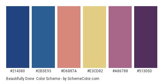 Beautifully Done - Color scheme palette thumbnail - #214380 #2b5e93 #d6887a #e3cd82 #a86788 #51305d