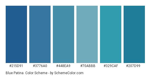 Blue Patina - Color scheme palette thumbnail - #215d91 #3776a0 #448ea9 #70abbb #329caf #207d99