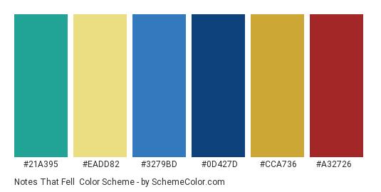 Notes that Fell - Color scheme palette thumbnail - #21a395 #eadd82 #3279bd #0d427d #cca736 #a32726