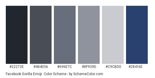 Facebook Gorilla Emoji - Color scheme palette thumbnail - #22272e #484d56 #696e7c #8f939d #c9cbd0 #28416e