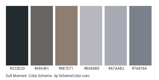 Dull Moment - Color scheme palette thumbnail - #222b2d #686461 #8e7e71 #b6b8be #a7aab2 #7a818a
