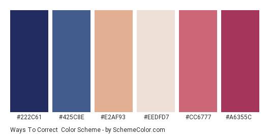 Ways to Correct - Color scheme palette thumbnail - #222c61 #425c8e #e2af93 #eedfd7 #cc6777 #a6355c
