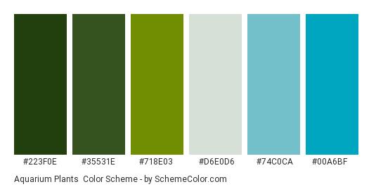 Aquarium Plants - Color scheme palette thumbnail - #223f0e #35531e #718e03 #d6e0d6 #74c0ca #00a6bf