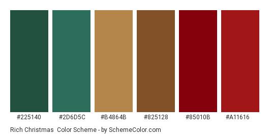 Rich Christmas - Color scheme palette thumbnail - #225140 #2d6d5c #b4864b #825128 #85010b #a11616