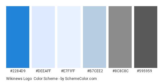 Wikinews Logo - Color scheme palette thumbnail - #2284D9 #DEEAFF #E7F1FF #B7CEE2 #8C8C8C #595959