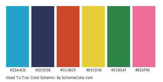 Head to Toe - Color scheme palette thumbnail - #22a4cd #2d355b #cc4829 #e6cd36 #2c8547 #ee6f96