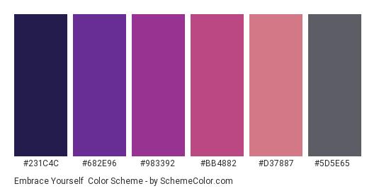 Embrace Yourself - Color scheme palette thumbnail - #231c4c #682e96 #983392 #bb4882 #d37887 #5d5e65