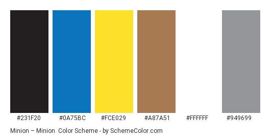 Minion – Minion - Color scheme palette thumbnail - #231f20 #0a75bc #fce029 #a87a51 #ffffff #949699