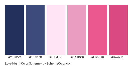 Love Night - Color scheme palette thumbnail - #23305c #3c4b7b #ffe4f5 #ea9dc0 #eb5890 #da4981