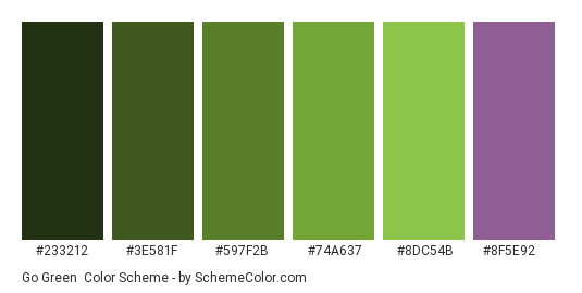 Go Green - Color scheme palette thumbnail - #233212 #3E581F #597F2B #74A637 #8DC54B #8f5e92