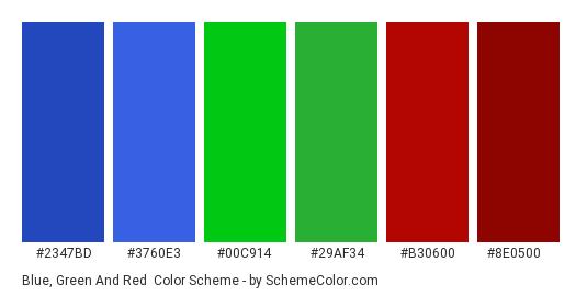Blue, Green And Red Color Scheme » Blue » SchemeColor.com