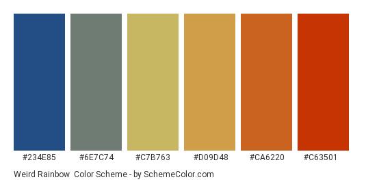 Weird Rainbow - Color scheme palette thumbnail - #234e85 #6e7c74 #c7b763 #d09d48 #ca6220 #c63501
