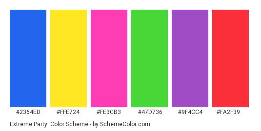 Extreme Party - Color scheme palette thumbnail - #2364ed #ffe724 #fe3cb3 #47d736 #9f4cc4 #fa2f39