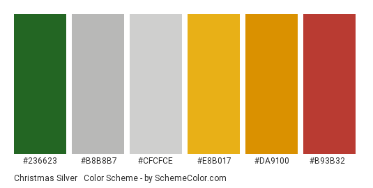 Christmas Silver & Gold - Color scheme palette thumbnail - #236623 #b8b8b7 #cfcfce #e8b017 #da9100 #b93b32